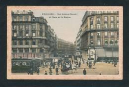 BELGIQUE - BRUXELLES - Rue Antoine Dansart Et Place De La Bourse (belle Carte Animée Avec Tramway) - Sin Clasificación