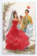 FANTAISIE-18169--------carte Brodée------Espagnols-------illustrée - Bestickt