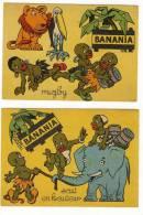 PUBLICITE-BANANIA-3 Cartonnages Sur Le Sport Rugby, Saut En Hauteur, Steeple Chase Bon Etat - Publicités