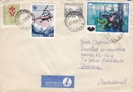 Poland Airmail Par Avion Lotnicza Label SZCZECIN 1978 Cover Brief To HAARLEM Netherlands Helicopter Vogel Bird - Luftpost