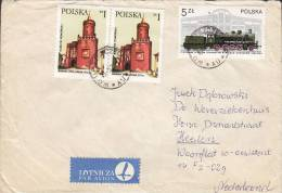 Poland Airmail Par Avion Lotnicza Label SZCZECIN 1978 Cover Brief To HAARLEM Netherlands Train Zug Chemin Lokomotive - Ohne Zuordnung