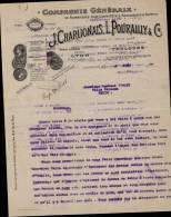 J.CHARLIONAIS, L.POURAILLY & Cie, FOURNITURES POUR CAFES, HÔTELS RESTAURANTS  A LYON /  CORRESPONDANCE DATEE 1908 - France