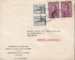Argentina UNIVERSIDAD DE BUENOS AIRES Dep. De Fisica BUENOS AIRES 1961 Cover Letra HELLERUP Denmark Alligator Echeverria - Argentinien