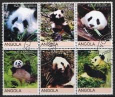 Angola 2000 Pandas Block Of 6 CTO - Angola