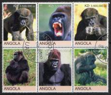 Angola 2000 Gorillas, Monkeys Block Of 6 CTO - Angola