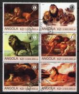 Angola 2000 Lions Block Of 6 CTO - Angola