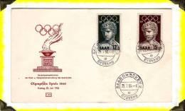 Sport  -  1956  -  Jeux Olympiques De Melbourne  -  FDC  - Sarrbrücken  Sarre (Saar) - 1945-... République De Chine