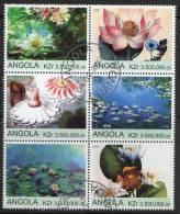 Angola 2000 Water Lillies Block Of 6 CTO - Angola