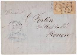 8998# Y&T N° 28 LAURE / LETTRE Obl REMIREMONT R.EP. 1869 Dos EPINAL GRAY .N. NANCY CONVOYEUR STATION ROUEN SEINE MARITIM - 1849-1876: Période Classique