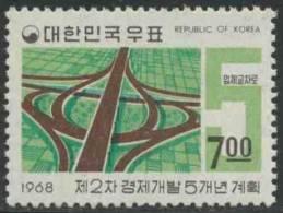 "Korea South 1968 Mi 641 ** ""Clover-leaf"" Road Junction – 2nd Five Year Plan, Dated ""1968"" / Kreuzung Am Han-Fluß - Auto's"