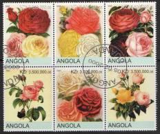 Angola 2000 Roses Block Of 6 CTO - Angola