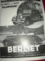 Publicite  Berliet    De L'Edition L'Illustration Octobre 1935 La 9ch Et 11 Ch Dauphine Tormat 350x250 - Advertising