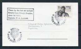 1969 Sweden Lions Savsjo Balloon Flight Postcard - Rotary, Lions Club