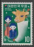 "Korea South 1972 Mi 855 ** Doll's And Ox's Head – Lunar New Year - ""Year Of The Ox"" / Puppen, Ochsenkopf, Weihnachtsbaum - Chinees Nieuwjaar"