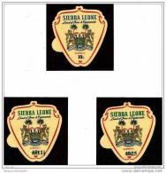 Sierra Leone AIR MAIL Iron & Diamonds Land Crest Emblem  C67-C69 Set Of 3 Odd Apple Shaped With TAB - Sierra Leone (1961-...)