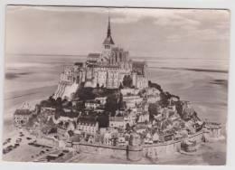 (RECTO / VERSO) LE MONT SAINT MICHEL EN 1956 - VU D' AVION COTE EST - AFFRANCHISSEMENT MECANIQUE - Le Mont Saint Michel