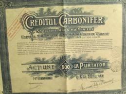 Creditul Carbonifer/Société Miniére/Action De 500 Lei Au Porteur/BUCAREST/Roumanie/1927         ACT33 - Mines