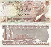 Turkey P187a, 20 Lirasi, Tower, 1970 - $5CV! - Turquie