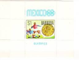 Barbuda 1968 Summer Olympics Mexico City Soccer S/S MNH - Antigua & Barbuda (...-1981)