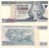 Turkey P211, 250,000 Lira, Ataturk / Kizikale Fort $3 - Turkey