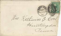 USA CC 1890 DE CLEVELAND A HUNTINGDON AL DORSO MAT LLEGADA - 1847-99 Emisiones Generales