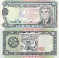 Turkmenistan P4a, 20 Manat, Nat;´l Library $6 CV! - Turkmenistan