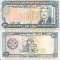 Turkmenistan P6b, 100 Manat, Niev / Palace $4CV - Turkmenistan