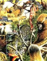 BENIN SHEET IMPERF WILDLIFE WILD CATS FAUNA FAUNE - Roofkatten