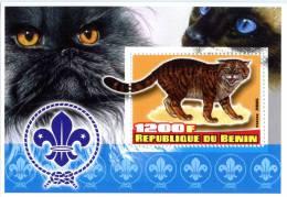 BENIN SHEET IMPERF CATS - Katten