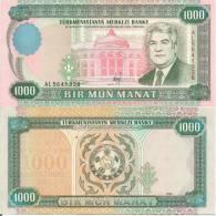 Turkmenistan P8, 1000 Manat, Niazov / Biulding  $12 CV - Turkmenistan