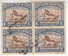 South Africa Used Scott #62 1sh Gnu Block Of 4 - Perf Faults, Thin - Oblitérés