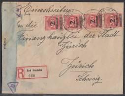 DR R-Brief Mef Minr.4x 309A Bad Nauheim 3.10.23 Gel. In Schweiz Zensur Ansehen !!!!!!!!!!!!! - Briefe U. Dokumente