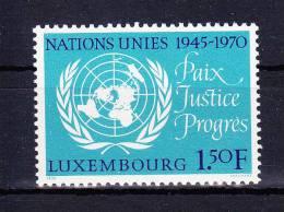 LUXEMBOURG  1970 , U N O  25 Years   ,  Y&T   #  763, Cv  0,35  E  ( Cat 2004 ) , ** M N H , V V F - Unused Stamps