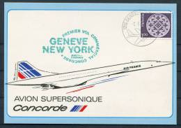 1982 Switzerland Air France Concorde Geneva - New York Flight Postcard - Concorde