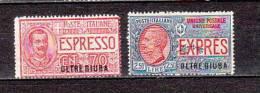 ITALY- OLTRE GIUBA-1926-SPECIAL DELIVERY--Sc#.# E1-E2 MINT NH-EURO 160.00 SALE $ 60.00 - Oltre Giuba