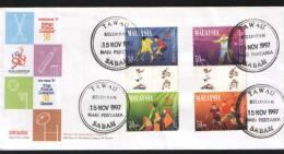 Malaysia FDC  1997 Set 300 Days To Commonwealth Games Hockey Basketball - Maleisië (1964-...)