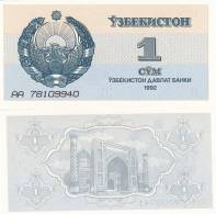 Uzbekistan P61a, 1 Sum, Arms / Mosque - Uzbekistán