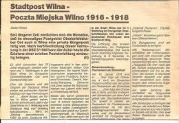Litauen / Stadtpost Wilna. Alles Wissenswerte Mit Belegabbildungen Und Gebühren. (3 DIN 4 4 Seiten - Filatelia E Historia De Correos