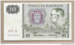 Svezia - Banconota Circolata Da 10 Corone - 1975 - Svezia