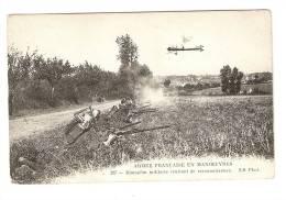 """CPA : Monoplan Militaire Rentrant De Reconnaissance : Soldats Avec """" Barda"""" En Position De Tir . Tampon - Guerre 1914-18"""
