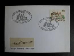 FDC Switzerland (Helvetia) 1994 Georges Simenon  Joint Issue Belgium - France - Switzerland - Emissioni Congiunte