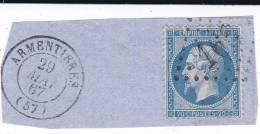 GC 168  -  ARMENTIERES  -  NORD   - SUR FRAGMENT - Variété - Marcophily (detached Stamps)