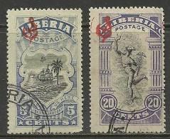 LIBERIA 1909 Dienstmarken Revenue Stamps Michel 60 - 61 O - Liberia