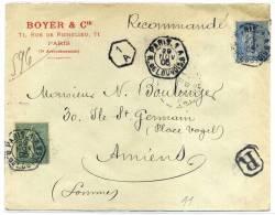FRANCE - SEMEUSE LIGNÉE - N° 132 + 130 / LR DE PARIS 1 A LE 29/11/1905 - TB - Storia Postale