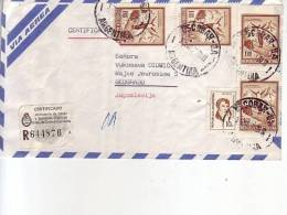 SKI JUMP-1 P-TWO PAIRS-REGISTERED-AIRMAIL-COVER-ARGENTINA -YUGOSLAVIA-POSTMARK-ESCOBAR-ARGENTINA-1974 - Luftpost