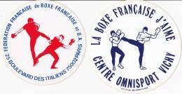 2 Autocollants - Sticker Boxe Française - Savate, FFBF Et Vichy, Ø 100 Et 110mm, Années 1980 - Boxe