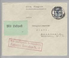 DR Deutsches Reich 1926-04-12 Hamburg Flugpost EZ-Frankatur 20Pf. Nach Dresden - Deutschland