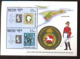 MNH BHUTAN # 916 : SOUVENIR SHEET STAMPS OLD STAMPS ; PENNY BLACK ; POSTAL HISTORY ; POSTILLION - Bhutan