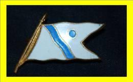 Ancien Insigne Badge Broche  émaillée Drapeau Fagnon Bleu Blanc - Brooches