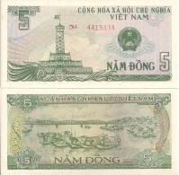 Viet Nam P-92a,5 Dong, Flag Tower / Sampan Anchored On River - Vietnam